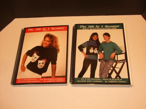 """Lot of 2 """"100 in 1"""" Sweater Books for Knitting Machine Volumes 1 & 3"""