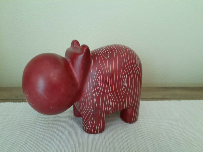 """4"""" Red Hand Crafted Carved Hippopotamus statue Hippo Figure"""