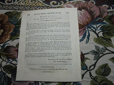 1798 100 Zeitung / Herzogtum Württemberg / Frankreich Todestag Ludwig XVI