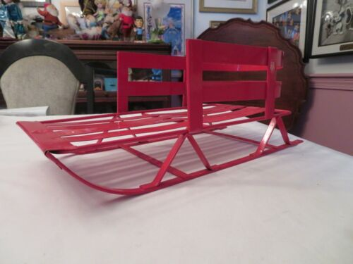 """18"""" LONG 6 1/2"""" HIGH RED METAL CHRISTMAS SLEIGH OR SLED FOR DECORATION OR DOLLS"""