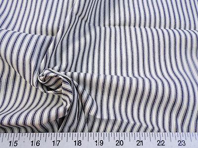 Discount Fabric Upholstery Drapery Ticking Stripe Graphite Gray Natural KK20