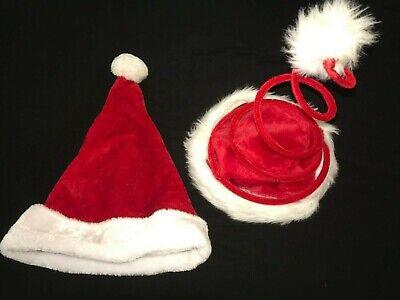 SANTA SPRING TOP HAT  WHITE FUR TRIM REGULAR HAT 2 PC LOT 1 SIZE MEN WOMEN ()