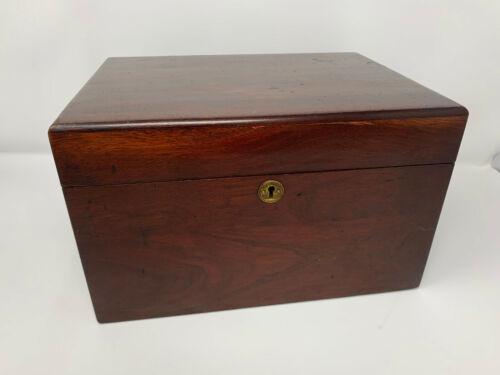 Antique Vintage Mahogany Oak Document Box w/ Lock - No Key