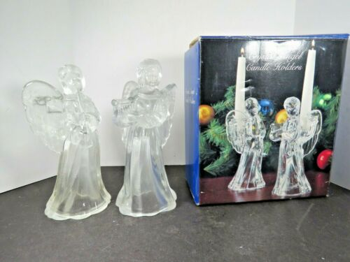 2 Vintage Christmas Crystal Angel Candle Holders Lot Taper Taiwan Holiday  A9545