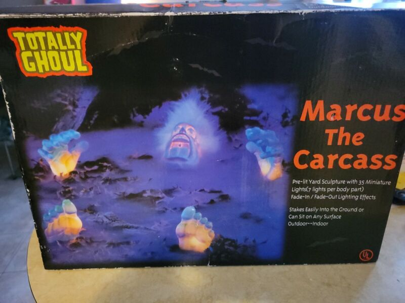Halloween Marcus the Carcass Grave Yard Prop Blow Mold Feet Hands Head Box