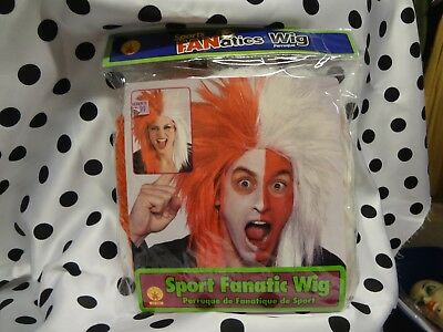 Halloween Costume Adult Red White sports Fan Punk Spiked long shag wig New - Halloween Sports Fan