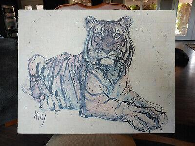 Unframed Vintage Tiger Print on Canvas SIGNED by Fritz Rudolf Hug