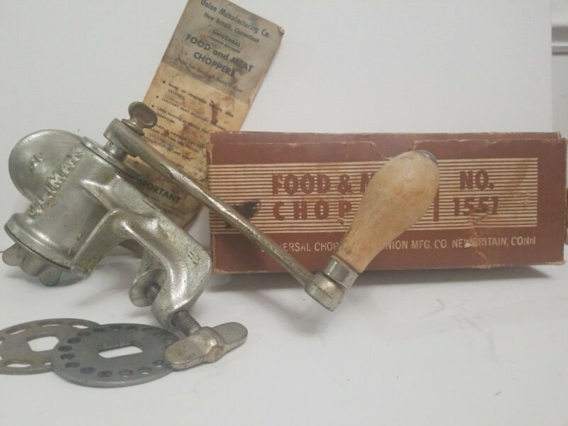 Vintage Climax 51 Meat Grinder With Original Box And Manual