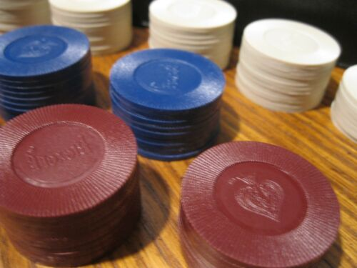 Lot of 194 Vintage BICYCLE Poker Chips Maroon Blue White
