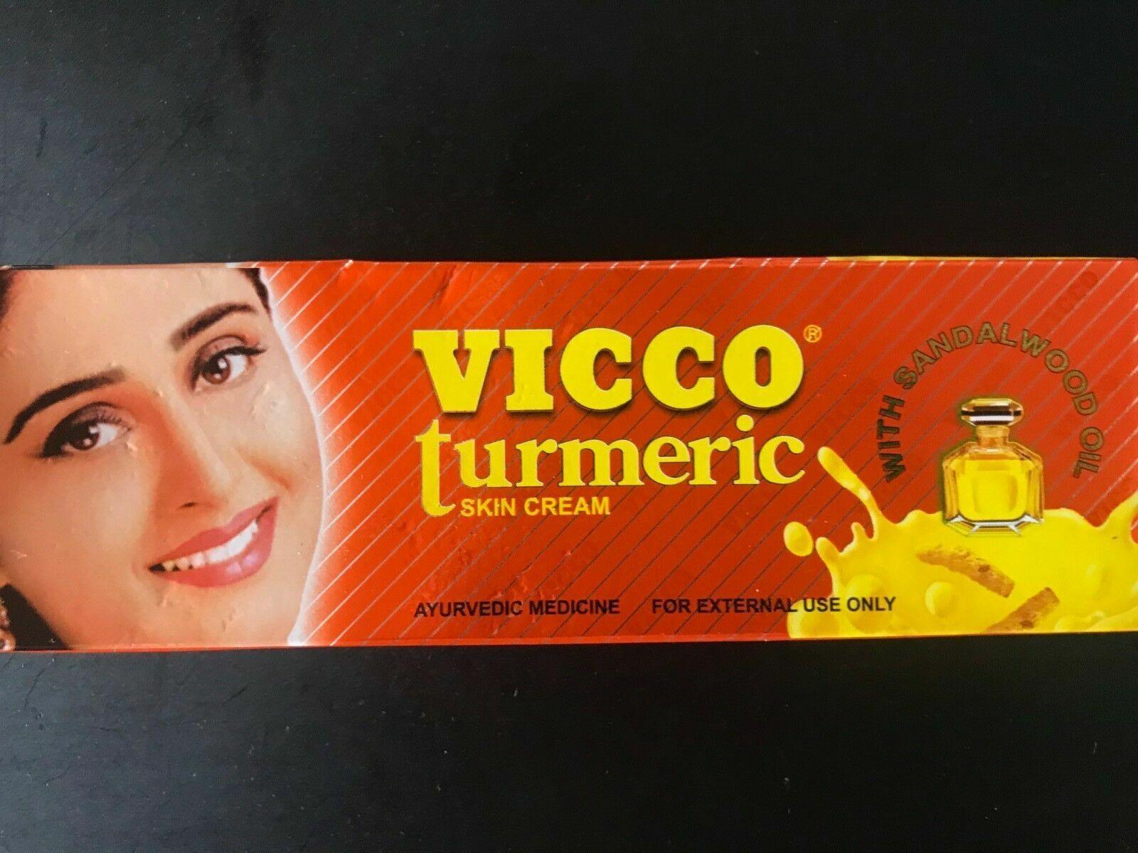 Vicco Turmeric Cream (Ayurvedische Haut-Creme mit Sandelholzöl) 15g Neu Verpackt