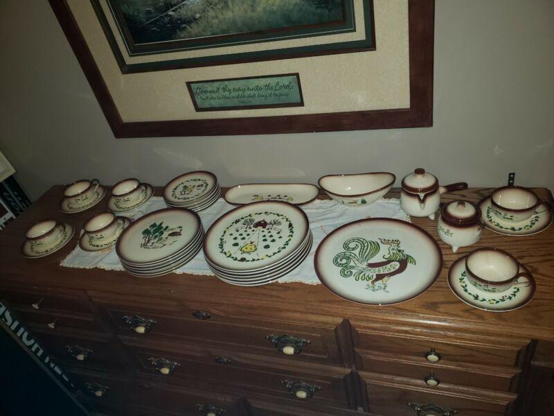 VINTAGE BROCK OF CALIFORNIA 37 PCS FARMHOUSE DINNERWARE  POTTERY Plate SET for 6