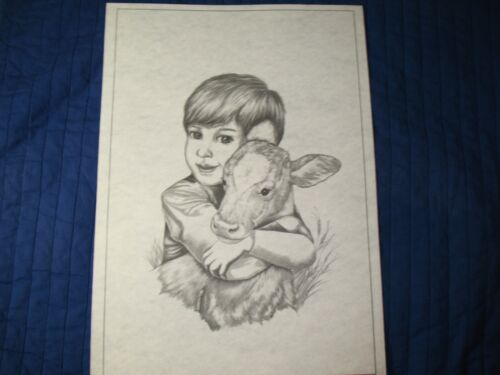 * TRI CHEM 7462 BOY AND CALF FRAM FRIENDS Picture to paint TRICHEM