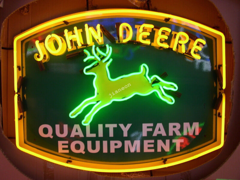 "24"" inches JOHN DEERE QUALITY FARM EQUIPMENT Tractor Dealer REAL NEON SIGN LIGHT"