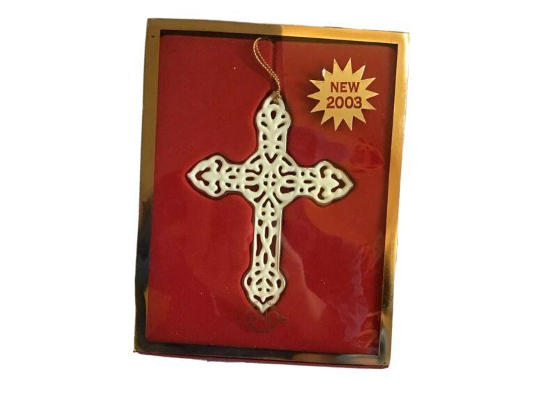 LENOX Ornament Pierced Cross Porcelain with 24 Kt Gold Trim 2003 *NIB* ~VHTF~