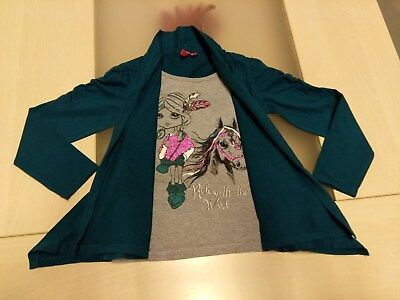 Blouse longues manches grise superposition gilet vert Girls, taille 104/110