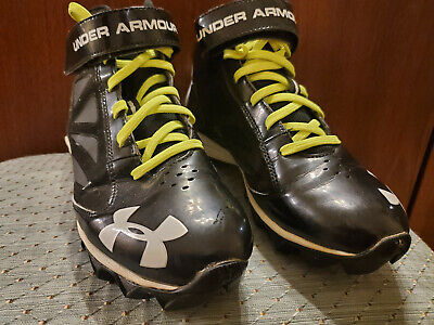 """Boy's Baseball Cleat Shoes 3/4"""" Rise Size 6 Under Armour Rubber Soles"""