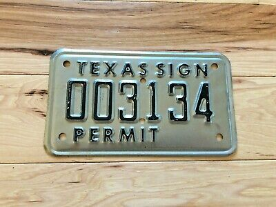 Texas Sign Permit License Plate