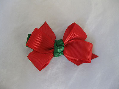 Baby Hair Barrette Clip Handmade Red and Green Christmas Bow Great Gift New