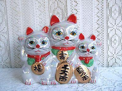 """****** 7"""" MANEKI NEKO FORTUNE 3 LUCKY CATS PIGGY BANK ******"""