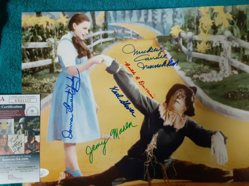 Wizard Of Oz 5 Munchkins Autographed 11x14 photo with Scarecrow JSA Certified