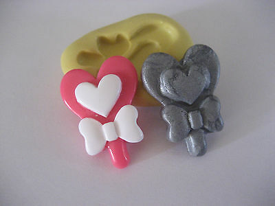 Heart lollipop 29mm flexible silicone mold for fondant chocolate clay etc