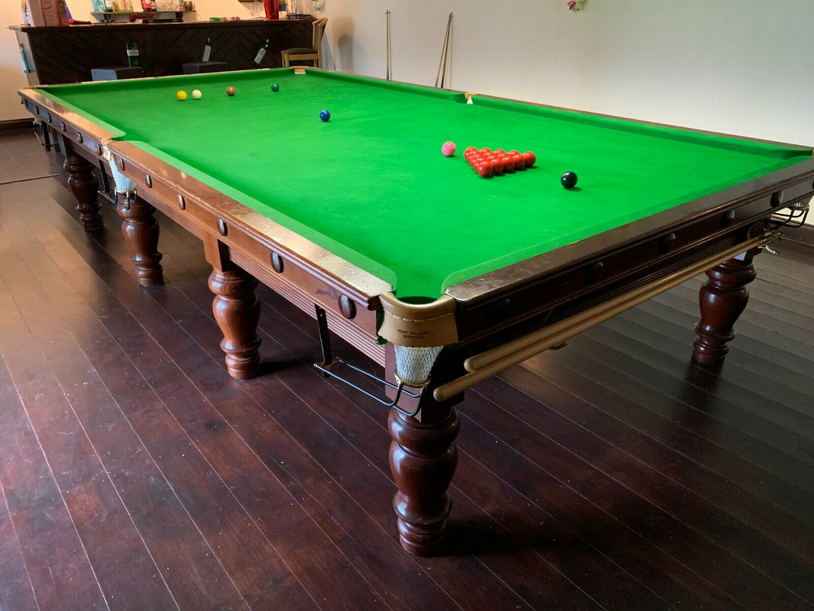 Full size snooker table - 12ft x6ft - slate bed, turned legs, beautiful table