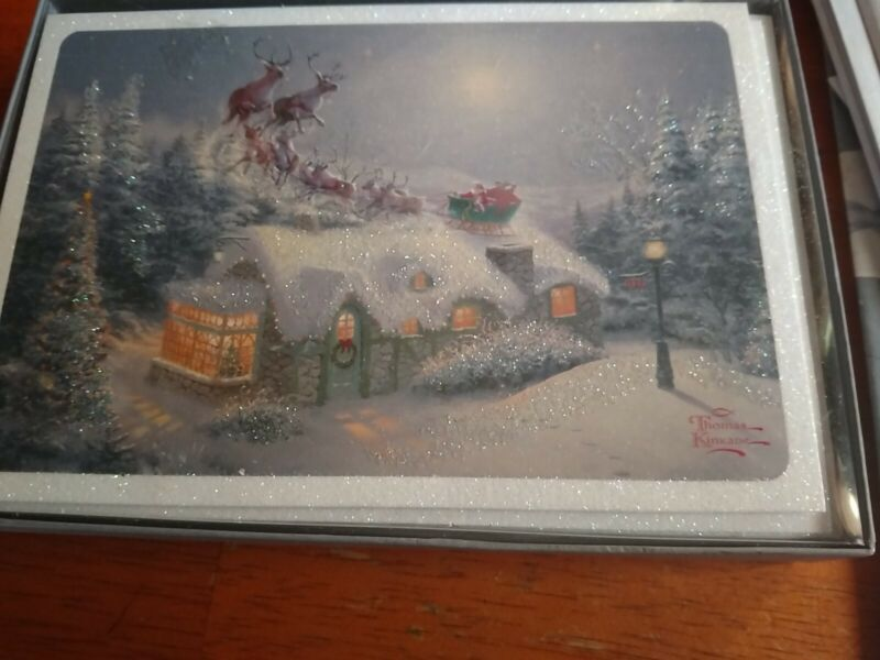 16 Hallmark Thomas Kinkade Painter of Light Christmas Cards w/ Glitter -NEW 2017