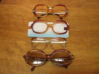 4 pairs vintage eyeglass frames retro thick edge Lucite Medora 60s cat eye wear