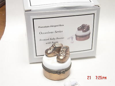 Phb Midwest Bronze Baby Shoes Trinket Box   W  Rattle Trinket Last One