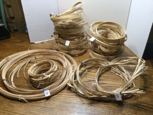 """Lot of 1"""", 1/2"""",3/8"""", 1/8"""" Flat Reeds for Basket Weaving with 2 Patterns"""