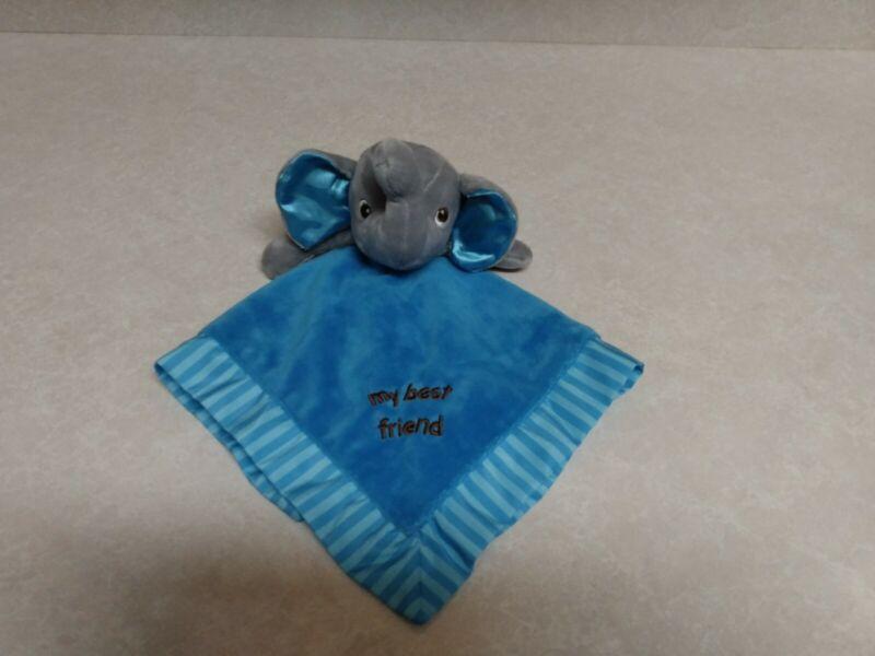Garanimals Elephant Baby Plush Lovey Blue Satin Feel Back Striped Edge ~