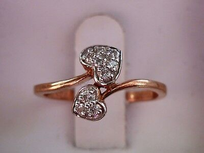 NEW 1/10ct Diamond Swirl Bypass Heart Ring Band - 10K Rose Gold- Size 6.25