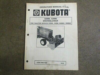 Kubota G2500 G2505 G 2500 2505 Snow Blower Owners Parts Maintenance Manual