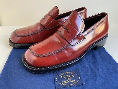 mens Vintage Prada Red Leather Penny Loafers Size 9