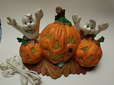 Vintage Light-Up Pumpkins with Ghost Mouse Lady Bug Handpainted Ceramic