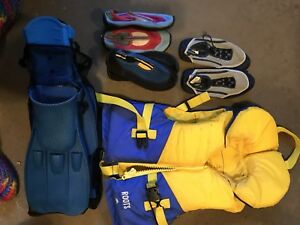 Life jacket, water shoes, flippers