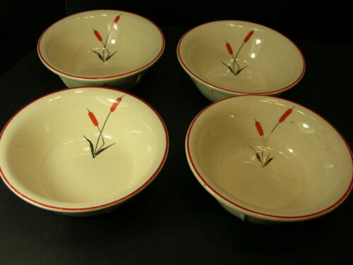 "LOT of 4 UNIVERSAL POTTERIES CATTAIL 5 3/4"" SOUP / CEREAL BOWLS"