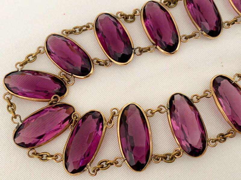 Vintage Antique Victorian Edwardian Glass Paste Open Back Bezel Set Necklace