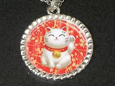 "Maneki Neko Money Lucky Cat Red Good Luck Charm Tibetan Silver 18"" Necklace BIN"