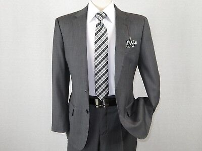 Two Charcoal (Men's Wool Cashmere Sharkskin Suit Giorgio Cosani Two Button 901 Charcoal)