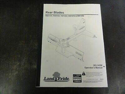 Land Pride Rb0548 Rb0560 Rb1560 Rb1572 Rb1584 Rear Blades Operators Manual