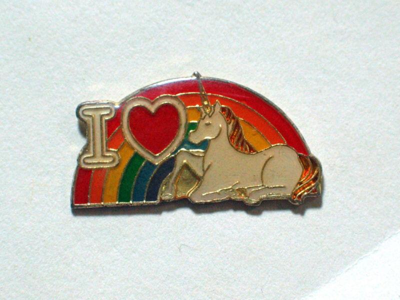 I Love Unicorn Pin , Rainbow Unicorn Lapel Pin