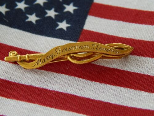 RARE DAR Anecstor Patriot Pin Mary Bowman Stevons  JE Caldwell Hand Engraved