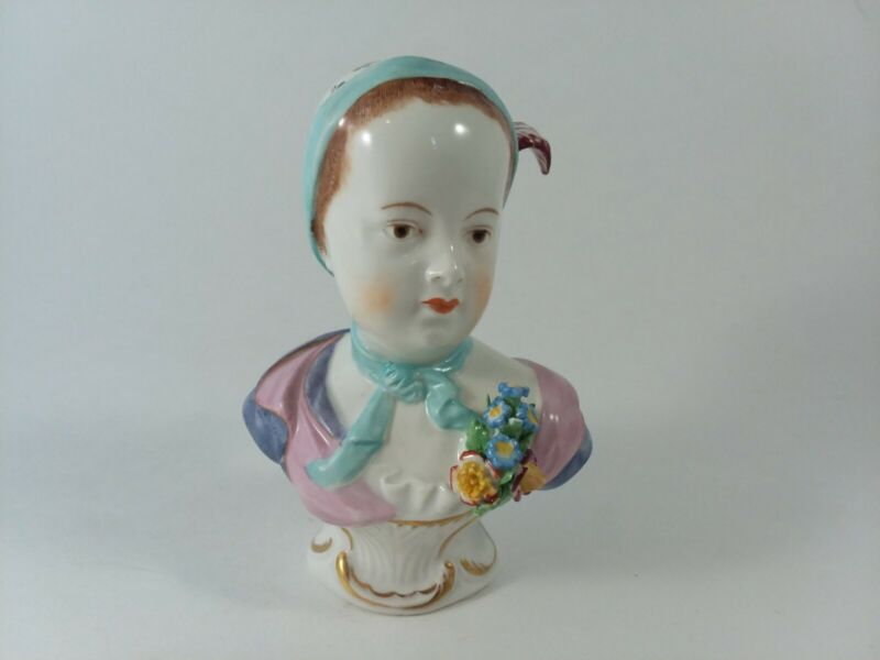 "Porcelain Bust DRESDEN Child Young Woman 4 1/8"" Germany"