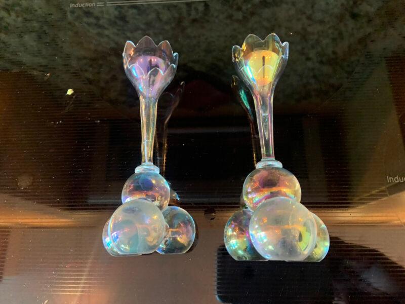 2 Lobmeyer Austrian Muslin Glass Iridescent Art Deco Josef Hoffmann Vases Small