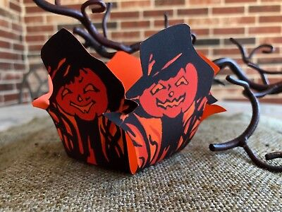 Vintage Repro Pumpkin Halloween Candy Cupcake Container,Party Favor,Nut Cup](Halloween Candy Cup)