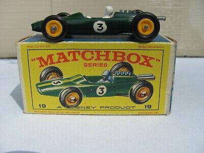 Vintage Lesney Matchbox # 19 Lotus Racing Car Green with Original Box