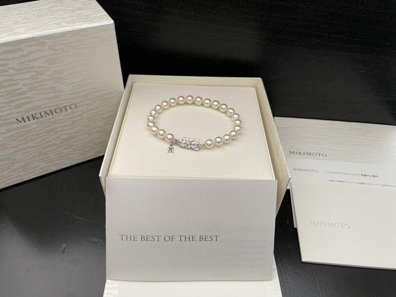 "Mikimoto The Best of The Best Platinum Diamonds 7mm AAA Pearl Bracelet 7.5"" Box"