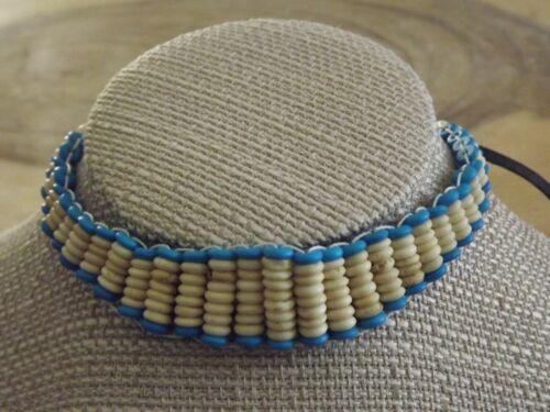 Buffalo Bone Beaded Choker Turquoise Beaded Tribal Native American Necklace