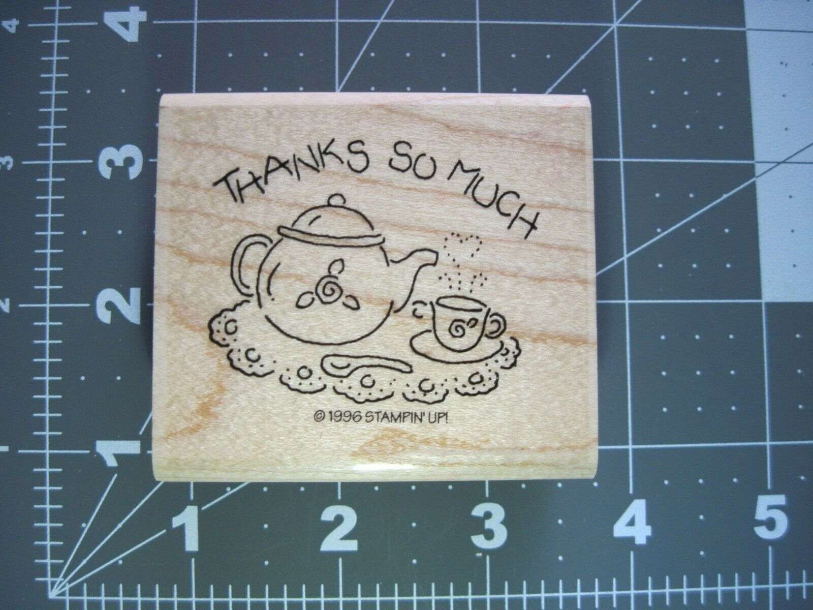 Stampin Up Retired Thanks So Much Rose Bud Tea Set Party 1996 Rubber Stamp - $2.25